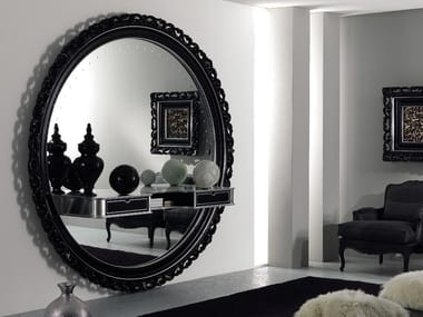 Round wall-mounted framed wooden mirror CLASSIC | Wall-mounted mirror