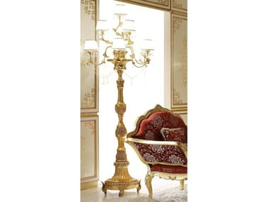 Gold leaf floor lamp with crystals OPERA | Floor lamp