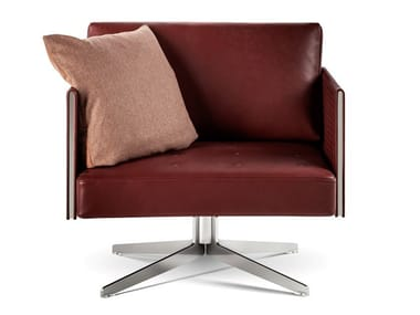 Swivel leather easy chair with 4-spoke base CLAYTON | Leather easy chair