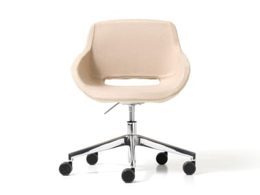 Upholstered fabric office chair with 5-Spoke base with castors CLEA PLUS | Office chair with castors