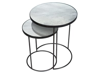 Round Mirrored Glass Side Table CLEAR NESTING SIDE TABLE SET