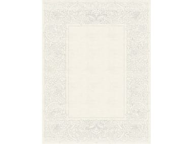 Handmade rectangular rug with floral pattern CLEMENTINE BLANC