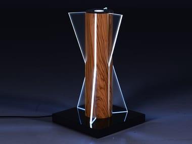 Lampada da tavolo a LED in legno e vetro CLESSIDRA | Lampada da tavolo