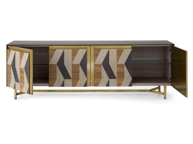 Wooden sideboard with four doors with inlay CLIK L450/4   Sideboard with doors