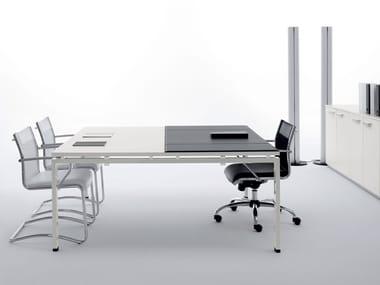 Tavolo da riunione quadrato con sottomano in pelle CLICK | Tavolo da riunione quadrato