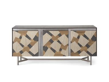 Wooden sideboard with three doors with inlay CLIK L450/3   Sideboard with doors