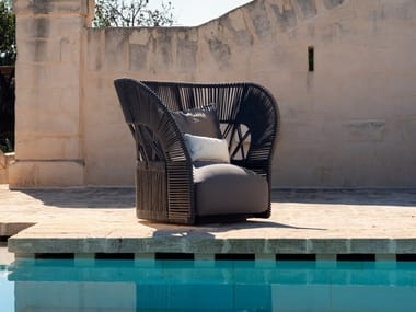 Contemporary style upholstered rope garden armchair with armrests CLIFF   Upholstered garden armchair