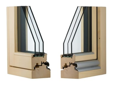 Laminated wood thermal break window CLIMA 92 COMPLANARE