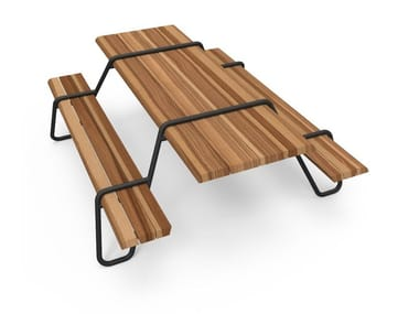 Stainless steel and wood picnic table with integrated benches CLIP-BOARD | Picnic table