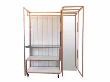 Floor-standing retail display unit with casters CLOSET