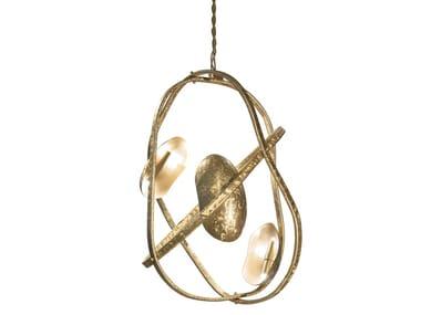 Lampada a sospensione in ottone smerigliato a mano CLOUD