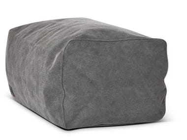 Upholstered rectangular canvas pouf CLUB | Pouf