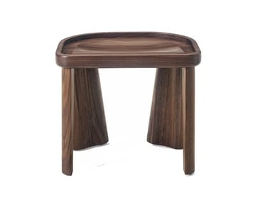 Low stackable solid wood stool CLUSTER