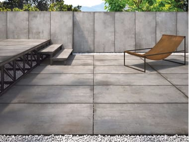 Porcelain stoneware outdoor floor tiles with stone effect CM2 TEKNOSTONE - SMOKE