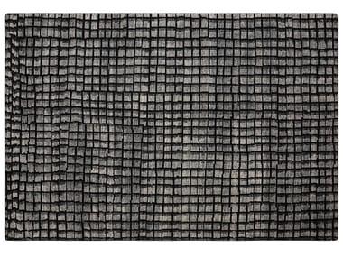 Handgearbeiteter rechteckiger geometrischer Teppich aus Wolle COBBLE