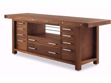 Wooden kitchen table with drawers COBLENZA