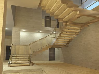 Self-supporting open staircase in steel and marble COBRA DESERT