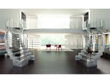Self supporting glass and steel Open staircase with lateral stringers COBRA GLASS