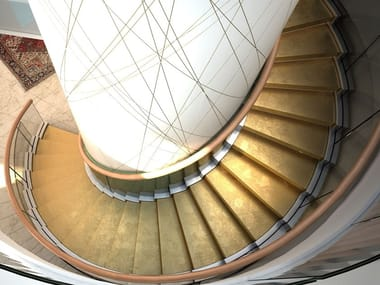 Self supporting U-shaped metal Open staircase with double bearing structure COBRA GOLD