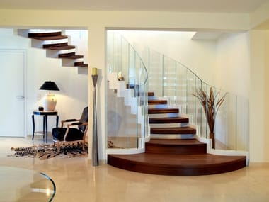 Self supporting glass and steel Open staircase with lateral stringers COBRA HELICAL