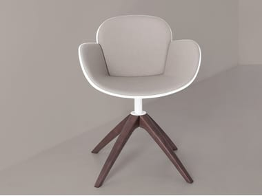 Swivel trestle-based easy chair with armrests COCCOLA WOOD
