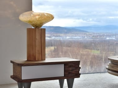 Direct-indirect light wood and glass table lamp COCOON
