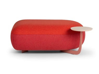Upholstered rectangular pouf with integrated magazine rack CODE | Rectangular pouf