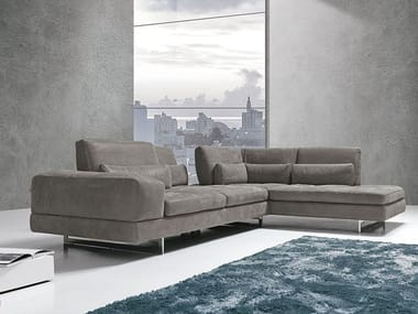 Sectional sofa with chaise longue COFFEE