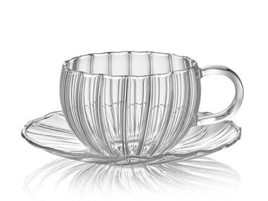 Taza de té de vidrio borosilicato con platillo COFFEE & TEA   Taza con platillo