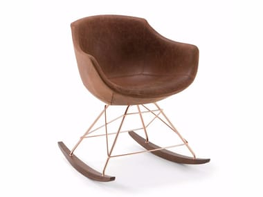 Rocking leather easy chair COLIMBAS | Rocking easy chair