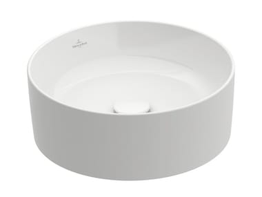 Countertop round TitanCeram washbasin COLLARO | Round washbasin