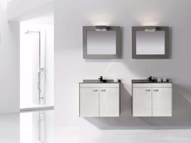 Mobile lavabo sospeso in MDF con ante e con specchio COLORS CUOIO 04