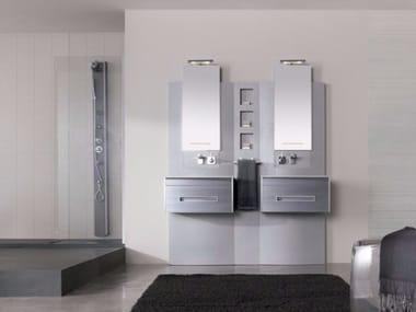 Mobile lavabo sospeso in MDF con cassetti con specchio COLORS LINEE 11