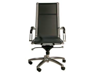 Chaise de bureau pivotante avec accoudoirs à roulettes COMMANDER HIGH