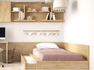 Letto in legno massello con secondo letto estraibile COMODO-SL