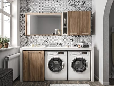 Wooden laundry room cabinet with sink REGOLA COMP.7