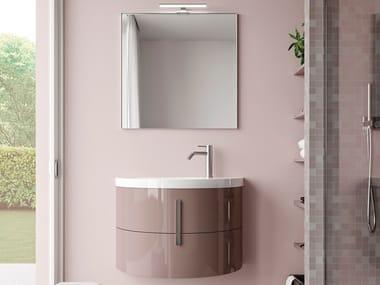 Mobile lavabo singolo sospeso in ceramica e legno MOON COMP M05
