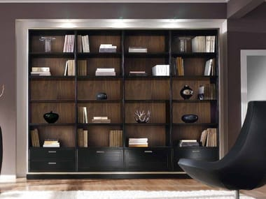 Open freestanding solid wood bookcase with drawers COMPOSITE | Bookcase