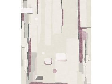 Patterned handmade rectangular wool and silk rug COMPOSITION V.II