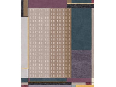 Patterned handmade rectangular wool and silk rug COMPOSITION XVII