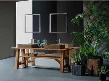 Floor-standing double solid wood vanity unit COMPOSITION 2