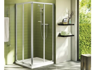 Corner tempered glass shower cabin with sliding door CONNECT - mod. A