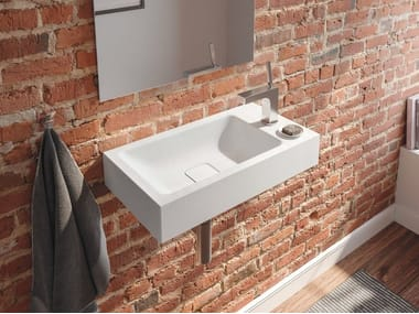 Rectangular wall-mounted enamelled steel handrinse basin CONO | Handrinse basin