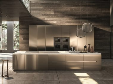 Contemporary style wooden kitchen with island without handles CONTEMPORA | Kitchen with island