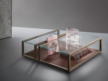 Tavolino quadrato in cristallo con portariviste CONTINUUM | Tavolino