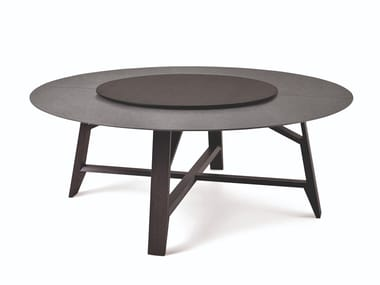 Marble and oak round table with rotating tray CONTROVENTO | Table