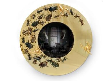 Round wall-mounted framed brass mirror CONVEX METAMORPHOSIS