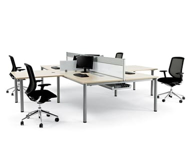 Anbau-Schreibtisch aus Holz mit Kabelführungssystem COOL E100 | Mehrere Büro-Schreibtisch