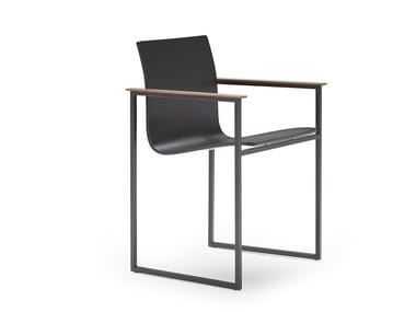 Sled base lacquered chair with armrests COPENHAGUE | Sled base chair