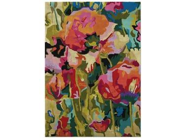 Tappeto a fiori fatto a mano rettangolare in seta COQUELICOT